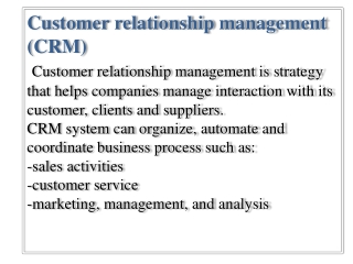 Costumer Relationship Management