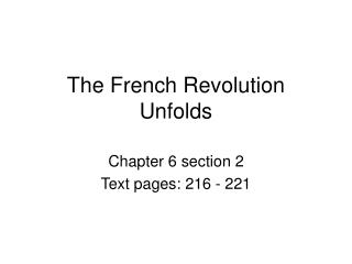 The French Revolution Unfolds