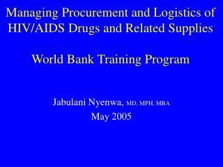 Managing Procurement and Logistics of HIV