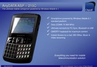 AnyDATA ASP   210C The ultimate mobile companion powered by Windows Mobile 6.1