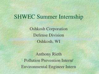 SHWEC Summer Internship