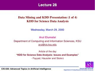 Wednesday, March 29, 2000  Arul Elumalai Department of Computing and Information Sciences, KSU arulcis.ksu  Article of t
