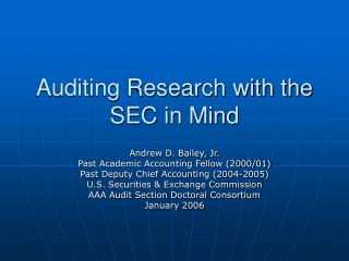 Auditing Research with the SEC in Mind