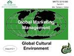 Global Marketing Management    Global Cultural  Environment