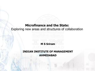 M S Sriram   INDIAN INSTITUTE OF MANAGEMENT AHMEDABAD