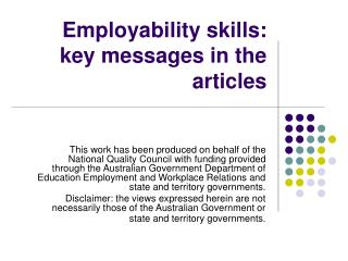 Employability skills: key messages in the articles