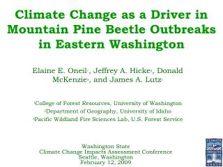 Climate Change as a Driver in Mountain Pine Beetle Outbreaks in Eastern Washington