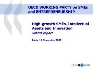 OECD WORKING PARTY on SMEs and ENTREPRENEURSHIP