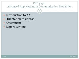 CSD 5230  Advanced Applications in Communication Modalities