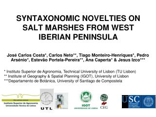 SYNTAXONOMIC NOVELTIES ON SALT MARSHES FROM WEST IBERIAN PENINSULA