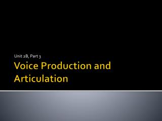 Voice Production and Articulation