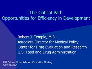 The Critical Path Opportunities for Efficiency in Development