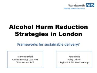 Alcohol Harm Reduction Strategies in London