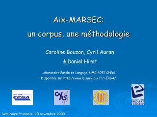 Aix-MARSEC: un corpus, une m thodologie