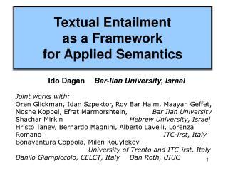 Textual Entailment  as a Framework  for Applied Semantics