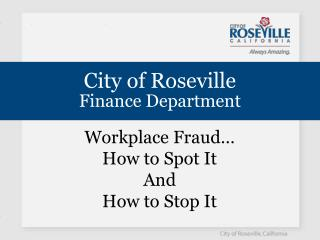 City of Roseville Finance Department