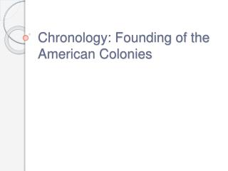 Chronology: Founding of the American Colonies