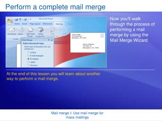 Perform a complete mail merge