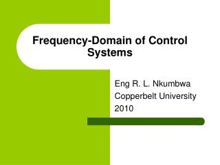 Frequency-Domain of Control Systems