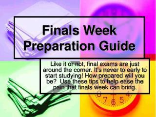 Finals Week Preparation Guide