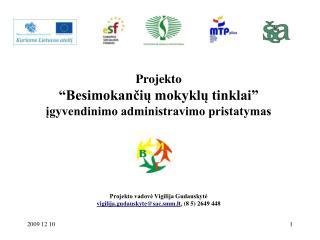 Projekto  Besimokanciu mokyklu tinklai  igyvendinimo administravimo pristatymas              Projekto vadove Vigilija Gu