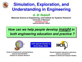 Simulation, Exploration, and  Understanding in Engineering   G. W. Rubloff Materials Science  Engineering, and Institute