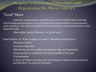 Chapter 5: Selecting Literature and Organizing the Music Library