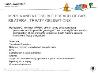 MPRDA AND A POSSIBLE BREACH OF SA S BILATERAL TREATY OBLIGATIONS