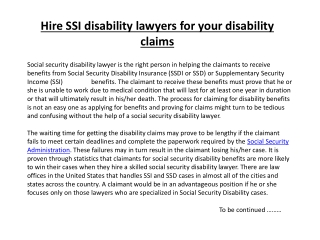 Hire SSI disability lawyers for your disability claims