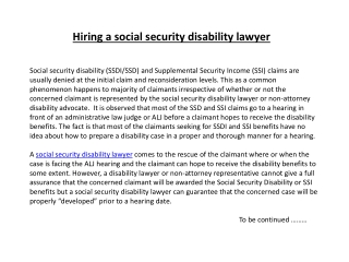 Hiring a social security disability lawyer