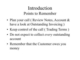 Introduction Points to Remember