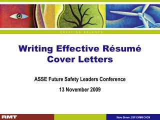 Writing Effective R sum  Cover Letters
