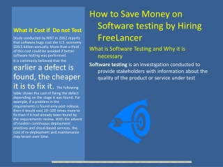 How to save money on Software Testing