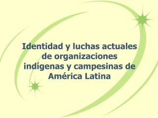 Identidad y luchas actuales  de organizaciones  ind genas y campesinas de Am rica Latina