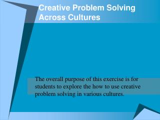 Creative Problem Solving Across Cultures