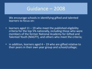 Guidance   2008