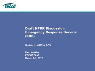 Draft NPRR Discussion Emergency Response Service ERS