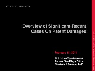 Overview of Significant Recent Cases On Patent Damages