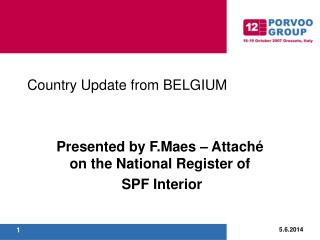 Country Update from BELGIUM