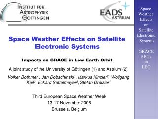 Space Weather Effects on Satellite Electronic Systems  Impacts on GRACE in Low Earth Orbit