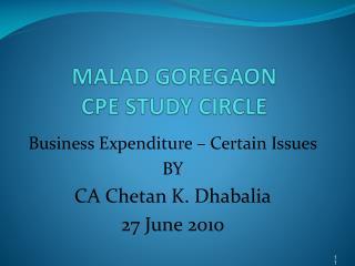 MALAD GOREGAON CPE STUDY CIRCLE