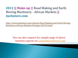 Road Making and Earth Moving Machinery - African Markets Pac