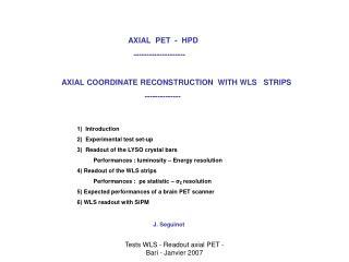 Tests WLS - Readout axial PET - Bari - Janvier 2007