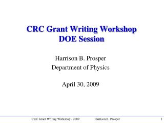 CRC Grant Writing Workshop DOE Session