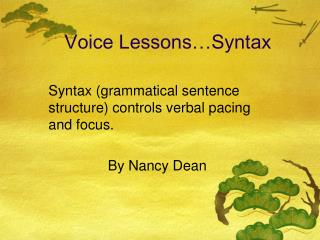 Voice Lessons Syntax