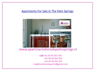 Apartments For Sale In The Palm Springs Gurgaon