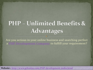PHP � Unlimited Benefits & Advantages
