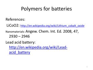 Polymers for batteries