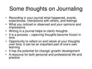 Some thoughts on Journaling