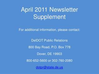 April 2011 Newsletter Supplement
